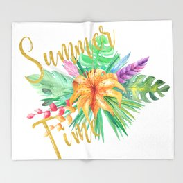 Tropical leaves and flowers summer time gold brush script Throw Blanket