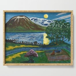 Planting the Spring Crops Lakeside under the yellow May Moon landscape painting by Nikolai Astrup Serving Tray