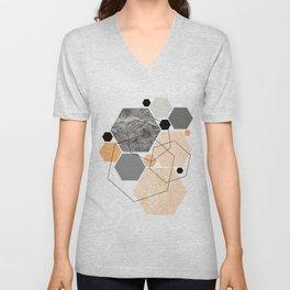 Orange Hexagon, Scandinavian Art Unisex V-Neck