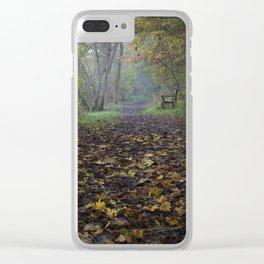 autumn path Clear iPhone Case