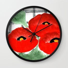 Poppies and Plaid Wall Clock