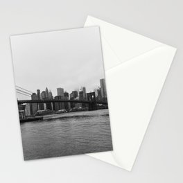 Brooklyn Bridge and downtown New York, USA | Sky and water | abstract travel art | Tipical NY building and view architecture photo Art Print Stationery Cards