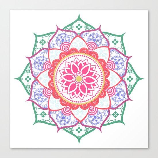 Decorative Coloured Flower Mandala Green Purple Blue Pink Canvas Print