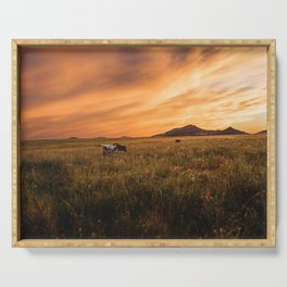 Longhorn Sunset Serving Tray