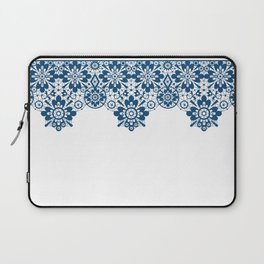 Blue lace on white background . Laptop Sleeve