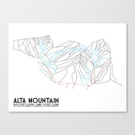 Alta, UT - Minimalist Trail Map Canvas Print