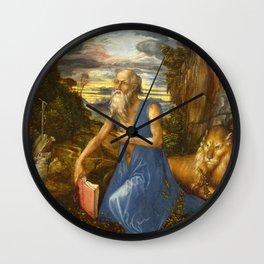 Saint Jerome in the Wilderness by Albrecht Dürer Wall Clock