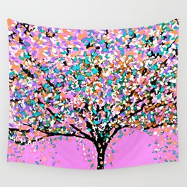 Trees Pink Wall Tapestry