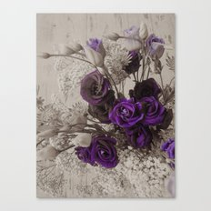 Vintage purple sepia floral Canvas Print