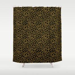 Mustard Yellow Black Turtle Shell Shower Curtain