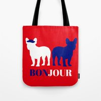 bonjour Tote Bags featuring Bonjour by Laura Maria Designs