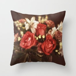 Old World Bouquet Throw Pillow