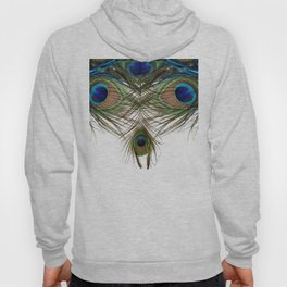 BLUE-GREEN PEACOCK FEATHERS WHITE ART Hoody