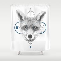 mr fox Shower Curtains featuring Mr Fox by white soap