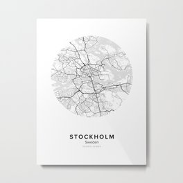 Stockholm Circle Map Metal Print