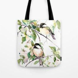 Chickadees and Dogwood Flowers Tote Bag