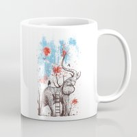elephants Mugs featuring A Happy Place by Norman Duenas