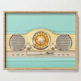 Blue teal Classic Old vintage Radio Serving Tray
