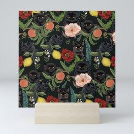 Botanical and Black Cats Mini Art Print