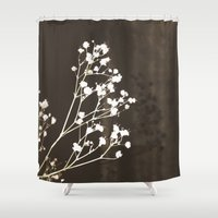 poetry Shower Curtains featuring Vintage poetry II by Viviana Gonzalez
