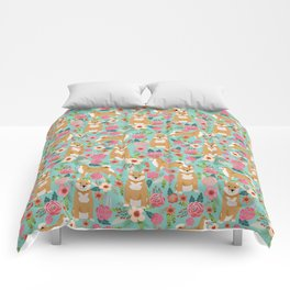 Shiba inu mint florals cute flowers dog breed must have gifts for pet dog lover unique dog breed art Comforters