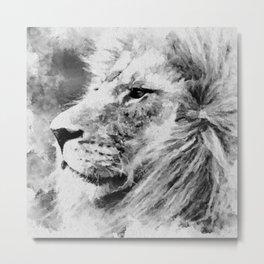 Lion Black and White  Mixed Media Digital Art Metal Print