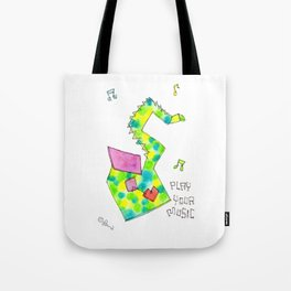 """""""Play Your Music"""" Original Watercolor Painting Colorful Saxophone by Lenna Arty Tote Bag"""