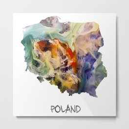 Map of Poland watercolor Metal Print