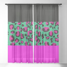 Urban Jungle - Leopard Pattern Pink Sheer Curtain
