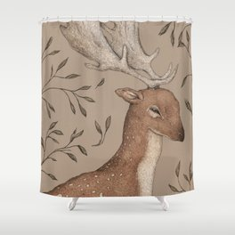 The Fallow Deer and Oats Shower Curtain