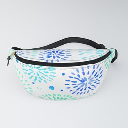 Abstract watercolor sparkles – aqua and blue Fanny Pack
