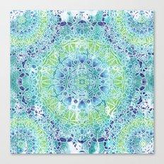 Blue Greenery Tie-Dye Mandala Canvas Print