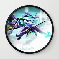 evangelion Wall Clocks featuring Evangelion Unit 01 - Shinji Ikari's Ride. The Digital Painting. by Barrett Biggers