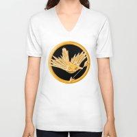 mockingjay V-neck T-shirts featuring Mockingjay by AriesNamarie