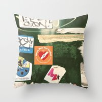 stickers Throw Pillows featuring stickers by kazmcart