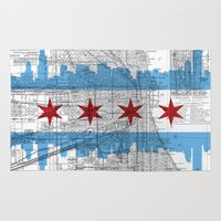 chicago map Area & Throw Rugs featuring Chicago Map  by Kasi Turpin
