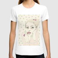 lipstick T-shirts featuring lipstick by Cecilia Sánchez