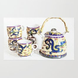 Time for tea. Delicate colors, Chinese tea set, retro look. Rug