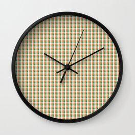 Small Orange White and Green Irish Gingham Check Plaid Wall Clock