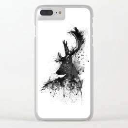 Deer Head Watercolor Silhouette - Black and White Clear iPhone Case