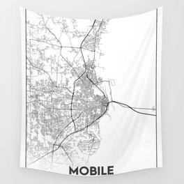 Minimal City Maps - Map Of Mobile, Alabama, United States Wall Tapestry
