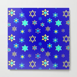 Hanukkah Holidays Celebration of Miracles Pattern Metal Print
