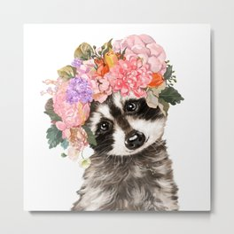 Baby Raccoon with Flowers Crown Metal Print