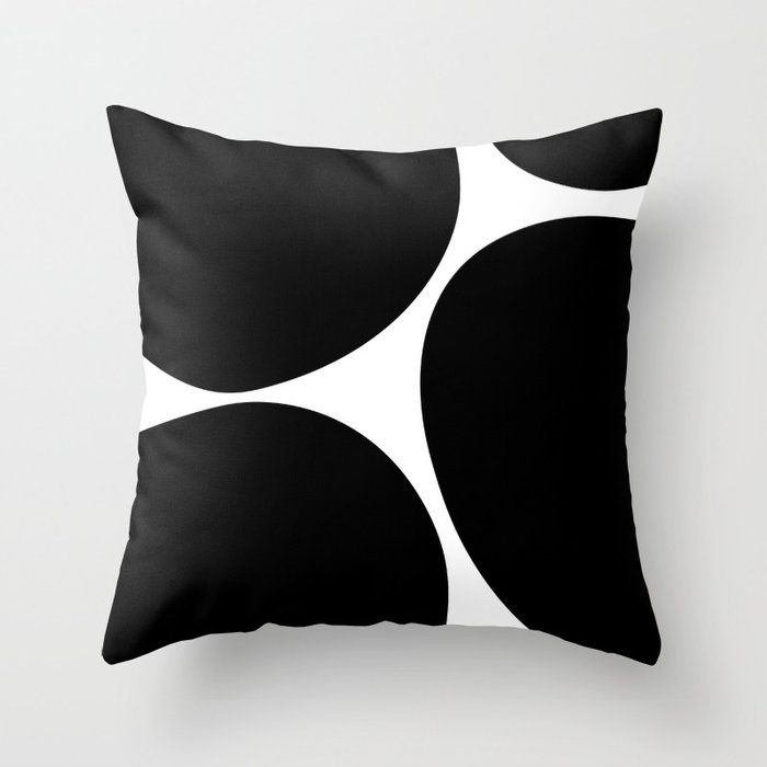 Big Dots Black Throw Pillow