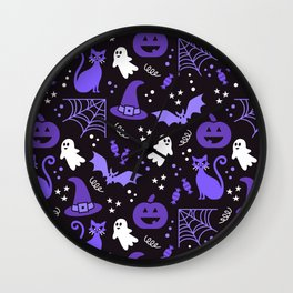 Halloween party illustrations purple, black Wall Clock