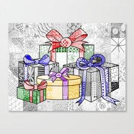 Coloured Christmas Presents Canvas Print