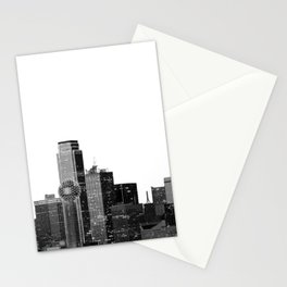 Dallas Texas Skyline in Black and White Stationery Cards
