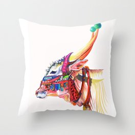 Himalayan Cow at Dusk Throw Pillow