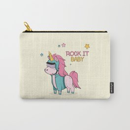 Magic cartoon unicorn in sunglasses and helmet card. Vintage vector typography poster with hand draw Carry-All Pouch