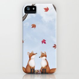 foxes, falling leaves, & pileated woodpecker iPhone Case